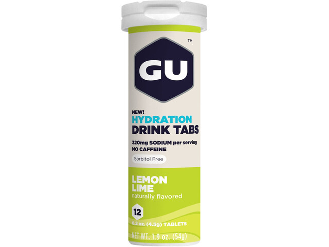 GU Energy Hydration Drink Tabs 12 Pieces, Lemon Lime
